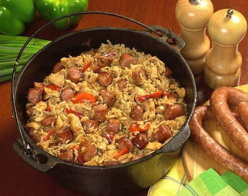 Conecuh Sausage Jumbalaya on Table in Cast Iron Skillet