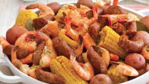 Conecuh Sausage Throw Down with Shrimp, Corn, and New Potatoes