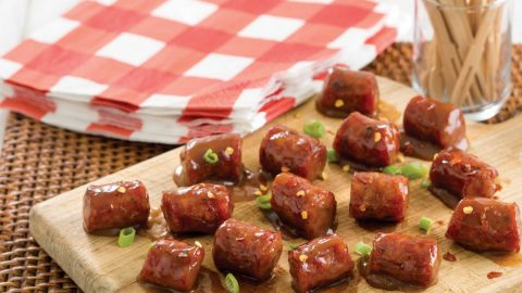 Sweet and Sour Conecuh Sausage on a Skewer