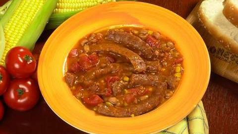 Conecuh Sausage and Black Eyed Pea Stew in Bowl