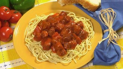 Conecuh Sausage and Spaghetti on a Plate