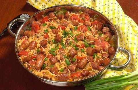 Conecuh Sausage and Spanish Rice in Skillet