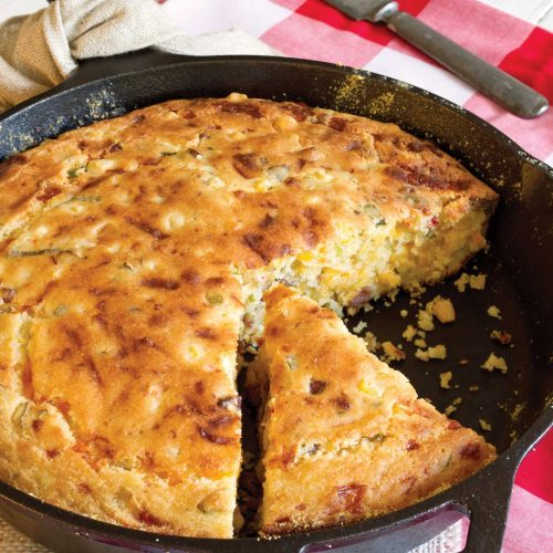Conecuh Sausage Cornbread in a Cast Iron Skillet