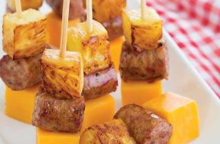 Conecuh Sausage and Pineapple Skewers with Cheddar