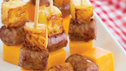 Hawaiian Skewers with Pineapple, Sausage, and Cheddar Cheese