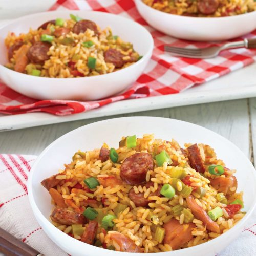 3 bowls of Jambalaya with Conecuh Sausage